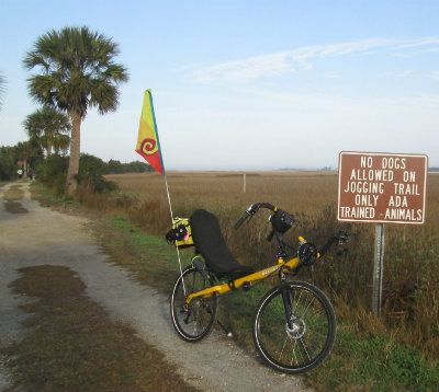 Jim-Schmid's-Bacchetta-Giro-recumbent-on-McQueens-Tybee-IslandRail-Trail-GA-02-20-2016