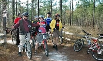 Jim-Schmid-in-yellow-jacket-IMBA-Trailbuilding-School-Tallahassee-FL-Dec-8-10-2006