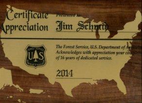 Jim-Schmid's-US-Forest-Service-retirement-plaque-2014