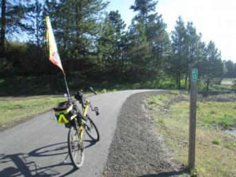 Jim-Schmid's-Bacchetta-Giro-recumbent-at-Milepost-0-Trail-of-the-Coeur-d'Alenes-ID-5-12-2016