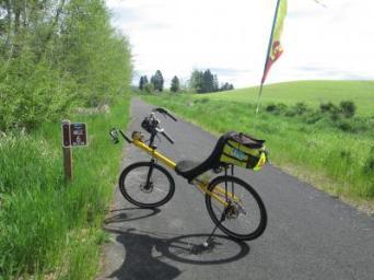 Jim-Schmid's-Bacchetta-Giro-recumbent-Milepost-6-on-Latah-Trail-Moscow-to-Troy-ID-5-9-2016
