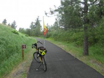 Jim-Schmid's-Bacchetta-Giro-recumbent-Milepost-8-on-Latah-Trail-Moscow-to-Troy-ID-5-9-2016