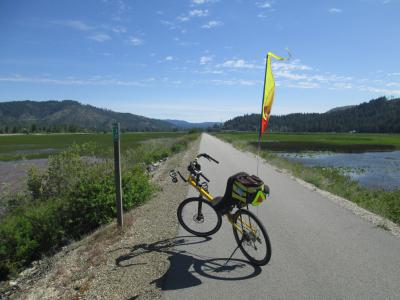 Jim-Schmid's-Bacchetta-Giro-recumbent-at-Milepost-30-Trail-of-the-Coeur-d'Alenes-ID-5-13-2016