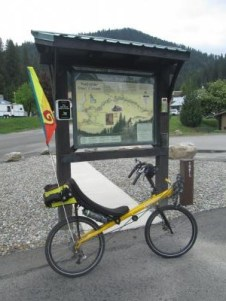 Jim-Schmid's-Bacchetta-Giro-recumbent-at-Mullan-kiosk-Trail-of-the-Coeur-d'Alenes-ID-5-15-2016