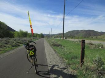 Jim-Schmid's-Bacchetta-Giro-recumbent-at-milepost-8-Wood-River-Trail-Ketchum-to-Bellevue-ID-5-5-2016