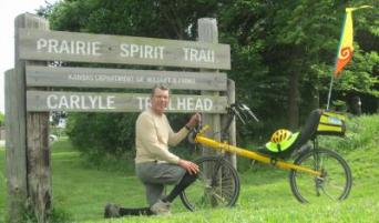 Jim-Schmid-with-Bacchetta-Giro-recumbent-on-Prairie-Spirit-Trail-Ottawa-to-Iola-KS-6-3-2016