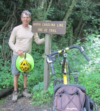 Jim-Schmid-with-Bacchetta-Giro-recumbent-at-NC-VA-stateline-Virginia-Creeper-Trail-07-10-2016