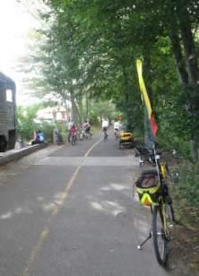 Jim-Schmid's-Bacchetta-Giro-recumbent-start-of-Minuteman-Bikeway-MA-9-5-2016