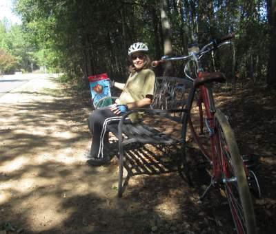 Sandra-Schmid-sitting-on-bench-Doodle-Trail-Pickens-SC-10-24-2016