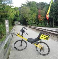 Jim-Schmid's-Bacchetta-Giro-recumbent-at-MP-6-Heritage-Rail-Trail-PA-10-5-2016