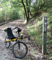 Jim-Schmid's-Bacchetta-Giro-recumbent-at-MP-8-Heritage-Rail-Trail-PA-10-5-2016