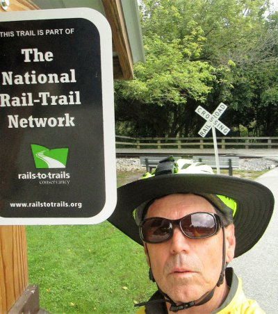 Jim-Schmid-next-to-Rail-Trail-Network-sign-Heritage-Rail-Trail-PA-10-5-2016