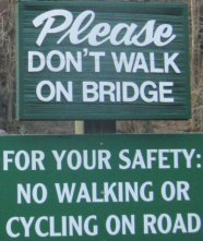 Don't walk-on-bridge-sign-Chimney-Rock-State-Park-NC-2016-01-01