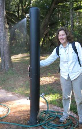 Sandra-Schmid-testing-shower-on-Cadillac-Trail-Tallahassee-FL-2011