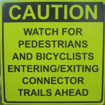 Caution-watch-for-peds-bicyclists-entering-existing-connector-trails-ahead-sign-W&OD-Rail-Trail-VA-2015-10-6&7