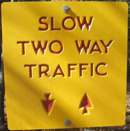 Two-way-traffic-sign-Lake-James-State-Park-mtn-bike-trail-NC-2-6-2017
