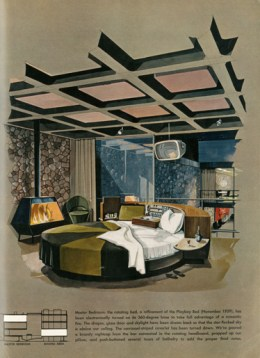 Master Bedroom in the Playboy Townhouse. Architect: R. Donald Jaye, Drawing: Humen Tan, May 1962 Playboy Issue © Playboy Enterprises International, Inc.