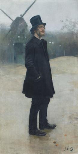 라몬 카사스(Ramon Casas) 「보헤미언, 몽마르트의 시인 (에릭 사티의 초상(Le Bohème, poète de Montmartre (Portrait d'Erik Satie)」 1891년.