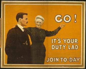 작자 미상 『참전하거라! 네 임무이니까 (Go! It`s your duty lad. Join to-day)』 1915년, 컬러리토그라피, 101 x 127,1 cm 인쇄: David Allen & Sons Ltd., Harrow/Middlesex, Library of Congress, Washington D.C.