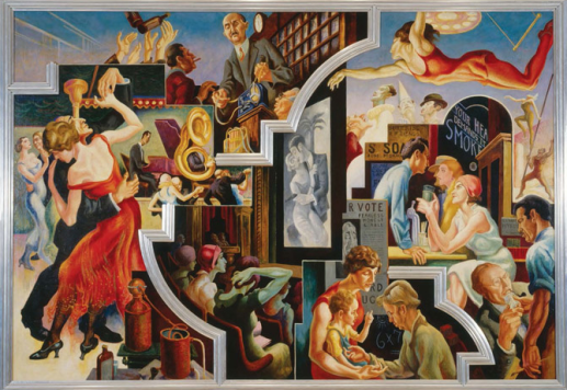 """Thomas Hart Benton (American, 1889-1975) """"City Activities with Dance Hall"""" from 『America Today』 1930-31. Mural cycle consisting of ten panels. Egg tempera with oil glazing over permalba white on a gesso ground on linen mounted to wood panels with a honeycomb interior. The Metropolitan Museum of Art, Gift of AXA Equitable, 2012."""