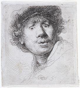 Rembrandt Harmensz. van Rijn (1606–1669) 『Self-Portrait in a Cap』 1630 Etching, 51 x 46 mm. Gift of J. P. Morgan, Jr.