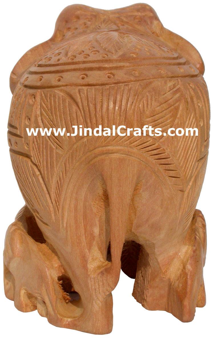 Hand Carved Kadam Wood Elephant India Artifacts Arts