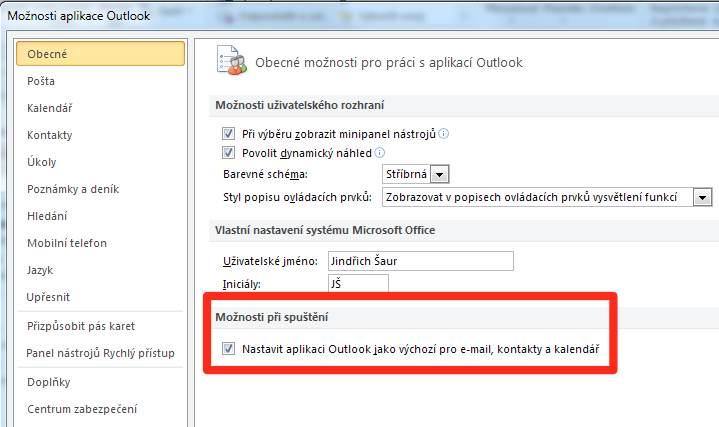 Outlook - chybová hláška