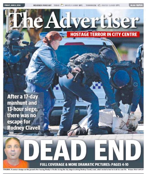 นสพ. the Advertiser เสนอข่าวนาย Rodney Clavell อาชญากรหนีการจับกุมทำการสังหารตัวเอง