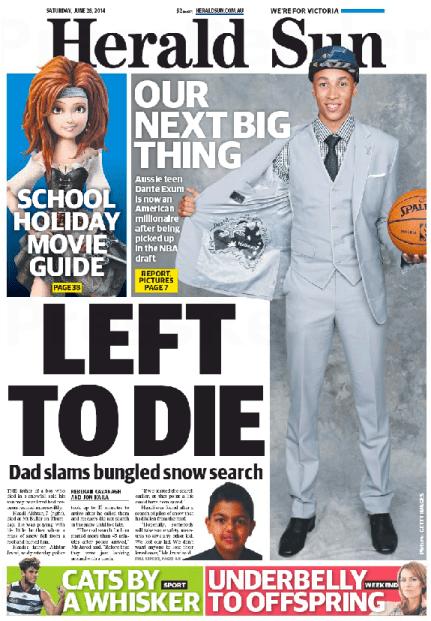 นสพ. Herald Sun ฉบับ 28 มิ.ย. 2014 ลงข่าวนาย Dante Exum ถูกเลือกลงแข่งบาสฯลีก