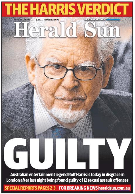 นสพ. Herald Sun เป็นหนึ่งในหนังสือพิมพ์หลายฉบับของออสเตรเลียที่เสนอข่าวการตัดสินคดีของนาย Rolf Harris