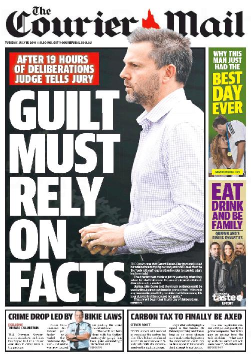นสพ. The Courier Mail ฉบับ 15 ก.ค. 2014 เสนอข่าวคณะลูกขุนในคดีนาย Gerard Baden-Clay ฆ่าภรรยาเจอทางตันในการลงความเห็นจำเลยมีความผิด เพราะขาดหลักฐานสำคัญ