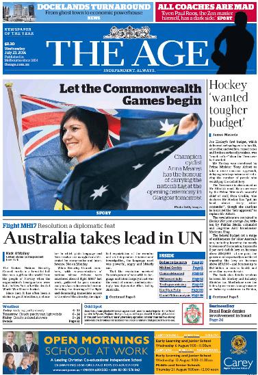 นสพ. The Age ฉบับ 23 ก.ค. 2014 เสนอข่าว Anna Meares ได้รับคัดเลือกให้เชิญธงชาติกีฬาคอมมอนเวลท์เกมส์