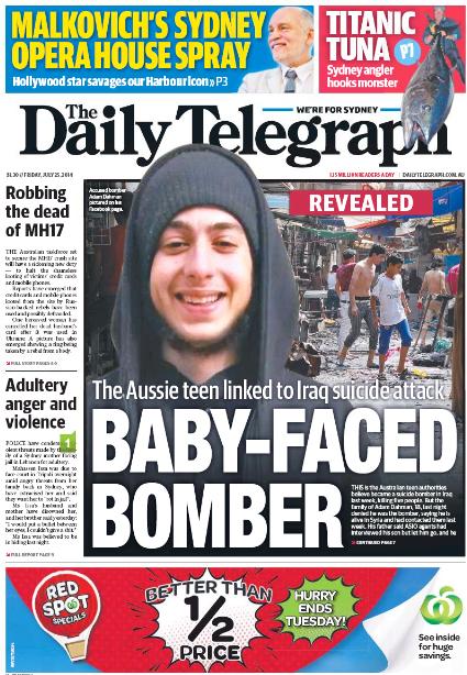 นสพ. The Daily Telegraph ฉบับ 25 กรกฎาคมลงข่าวเผยภาพเด็กหนุ่มผู้ทำระเบิดพลีชีพกลางกรุงแบกแดก
