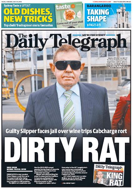 นสพ. The Daily Telegraph ฉบับ 29 ก.ค. เสนอข่าวศาลตัดสินนาย Peter Slipper อดีตประธานรัฐสภามีความผิดคดี Cabcharge