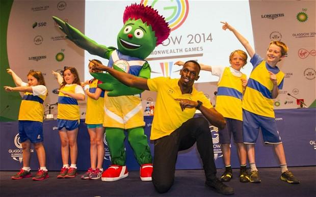 Usain Bolt ขณะร่วมกิจกรรมคอมฯเกมส์ 2014
