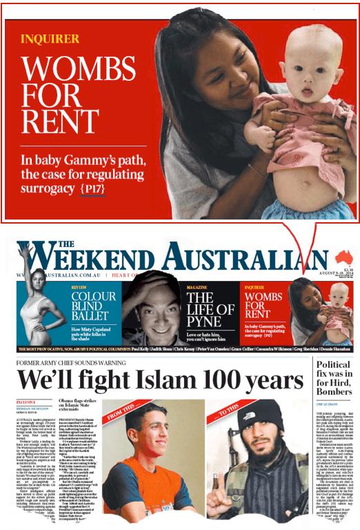 นสพ. Weekend Australian ฉบับ 9 ส.ค. 2014 พาดหัว การไต่สวนเรื่อง มดลูกให้เช่า