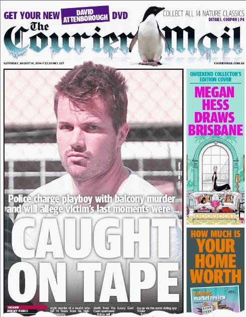 นสพ. Courier Mail ฉบับวันที่ 16 ส.ค. 2014 ลงข่าวตำรวจจับกุมนาย Gable Tostee