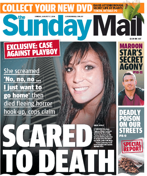 นสพ. the Sunday Mail เสนอข่าวหน้าหนึ่งการเสียชีวิตของนส. Warriena Wrigh
