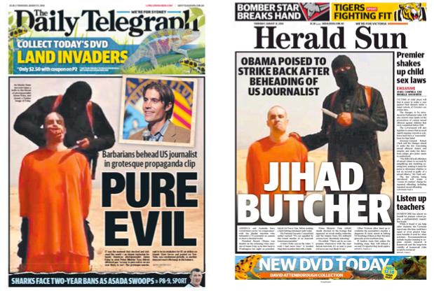 นสพ. the Daily Telegraph และ the Herald Sun ฉบับ 21 ส.ค. 2014 เสนอข่าวโจรรัฐอิสลามฆ่าปาดคอนักข่าวสหรัฐ