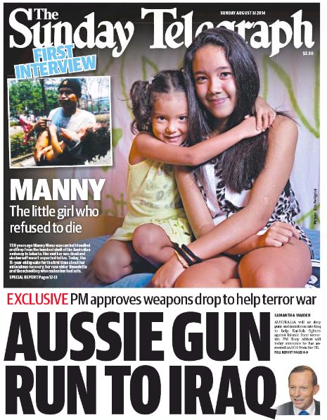 นสพ. the Daily Telegraph ฉบับ 31 ส.ค. 2014 ด้านล่างเสนอข่าวส่งอาวุธไปช่วยรบในอิรัก