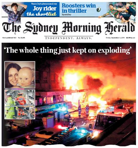นสพ. SMH ฉบับ 5 ก.ย. 2014 เสนอข่าวระเบิดและเพลิงไหม้ที่ย่าน