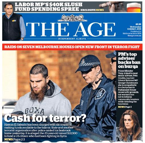 นสพ. The Age ฉบับ 1 ต.ค. 2014 เป็นอีก 1 ในหนังสือพิมพ์หลายฉบับที่เสนอข่าวการจับกุมนาย Hussain El Sabsabi