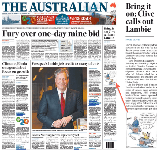 นสพ. the Australian ฉบับวันที่ 14 พ.ย. 2014 เสนอข่าวการแตกแยกระหว่างส.ว. Jacqui Lambie  กับส.ส. Clive Palmer