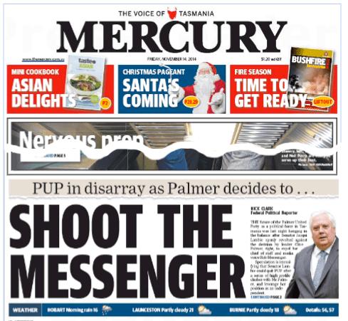 นสพ. Mercury ฉบับวันที่ 14 พ.ย. 2014 เสนอข่าวการแตกร้าวระหว่างส.ว. Jacqui Lambie กับส.ส. Clive Palmer