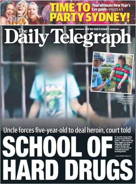 นสพ. the Daily Telegraph ฉบับ 31 ธ.ค. 2014 เสนอข่าวให้หลายชายวัย 5 ขวบขายเฮโรอิน