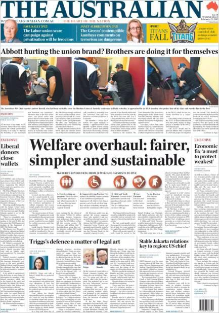 นสพ. the Australian ฉบับวันที่ 25 ก.พ. 2015 เป็นหนังสือพิมพ์หลักหนึ่งในหลายฉบับที่เสนอข่าวการปฏิรูประบบจัดการเงินสวัสดิการ