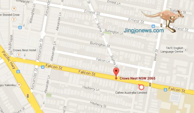 แผนที่แสดงสถานที่เกิดเหตุ จุดป้ายสีแดงคือหัวมุมถนน Falcon St. กับถนน Sophia St. ส่วนจุดขาวขอบแดงคือปั๊มน้ำมัน Caltex ที่พยาบาลสาวเข้าไปของความช่วยเหลือ