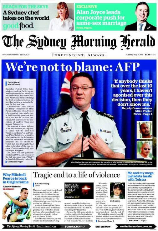 นสพ. the SMH ฉบับ 5 พ.ค. 2015 เสนอข่าวตำรวจ AFP แถลงข่างไม่ขออภัยต่าโทษประหาร