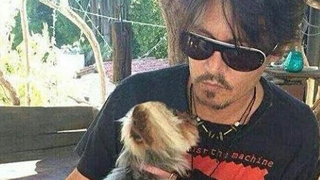 Depp กับหนึ่งในสุนัขตัวโปรด