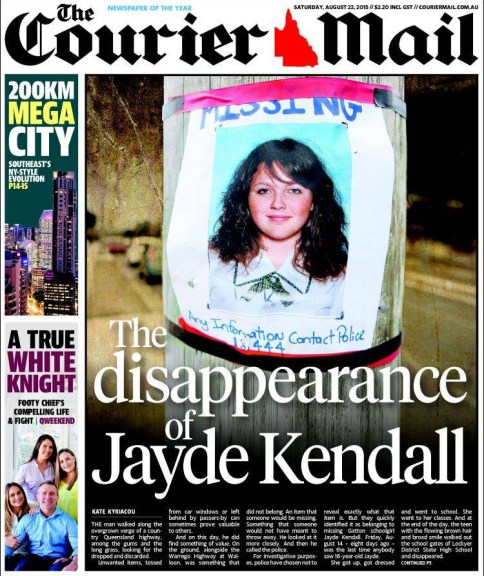 นสพ. the Courier Mail ฉบับวันที่ 22 สิงหาคม เสนอข่าวการหายตัวของน.ส. Jayde Kendall